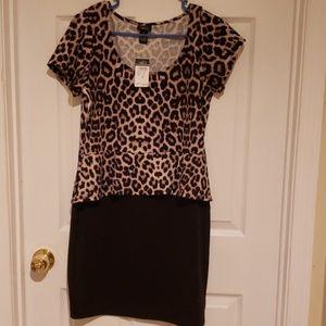 Leopard block dress